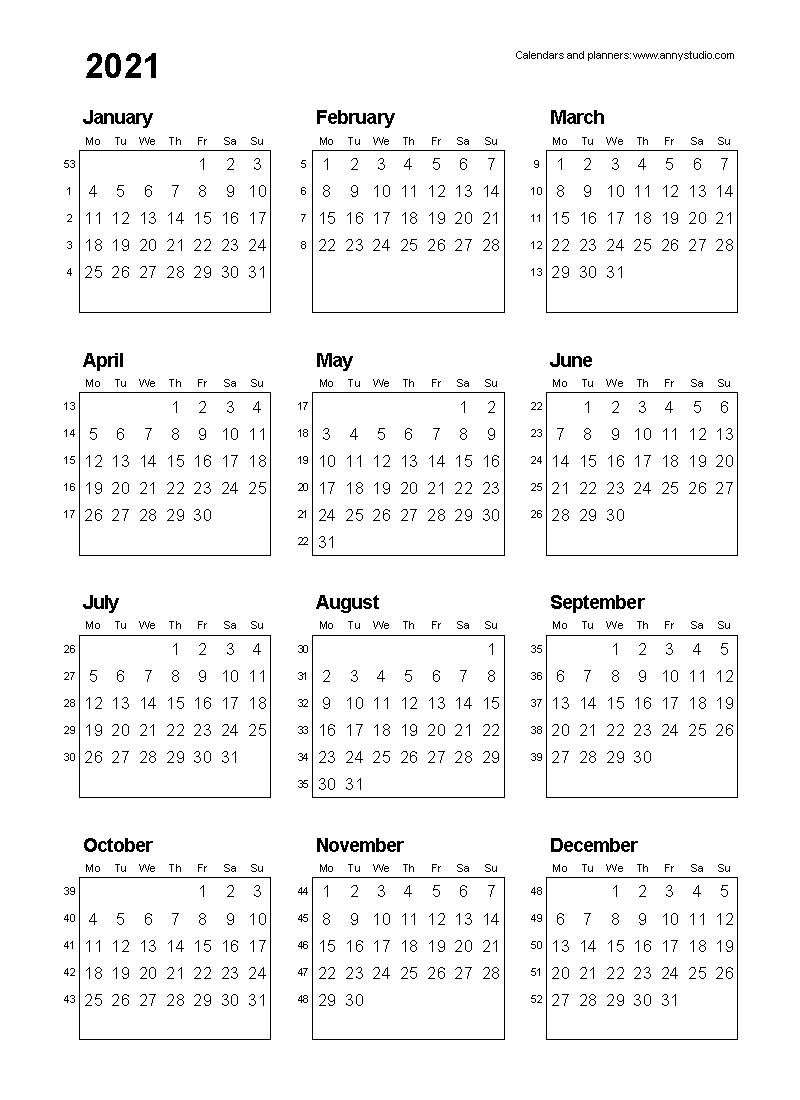 Year Calendar Numbered Weeks | Ten Free Printable Calendar 2020-2021
