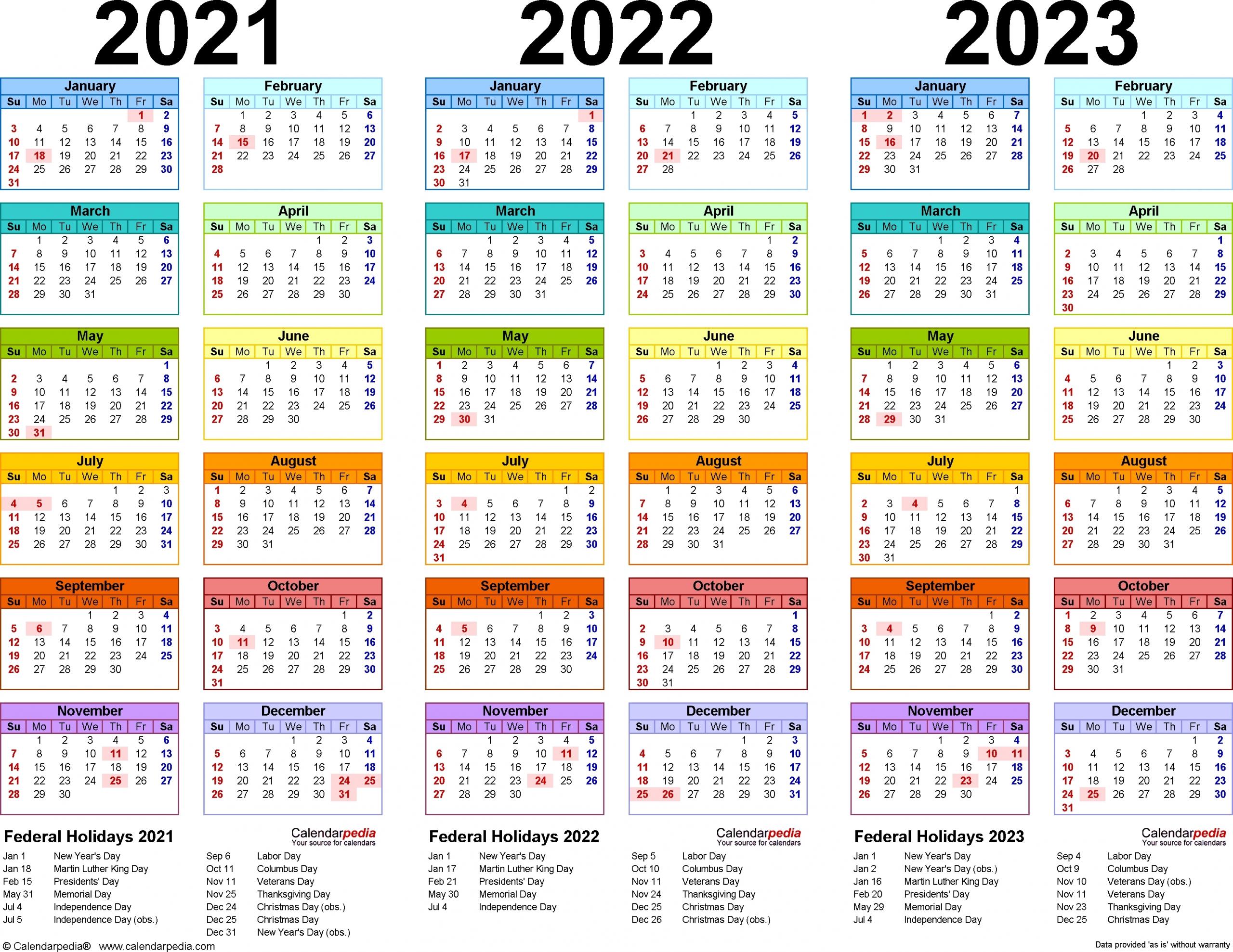 Yearly Calendar 2020 2021 2022 2023 - Calendar Inspiration Design