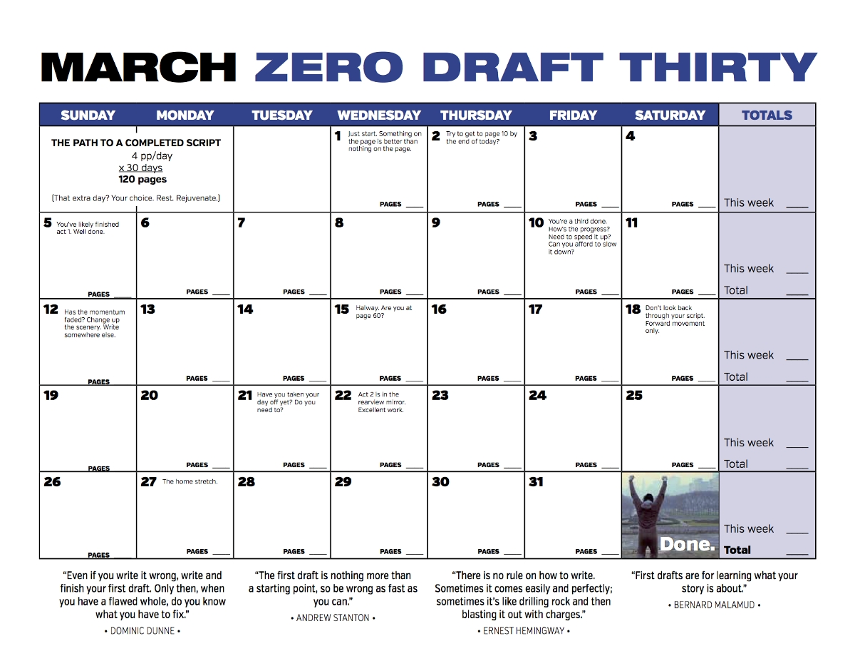 Zero Draft Thirty 2017 Spring Challenge: 3 Days And Counting!