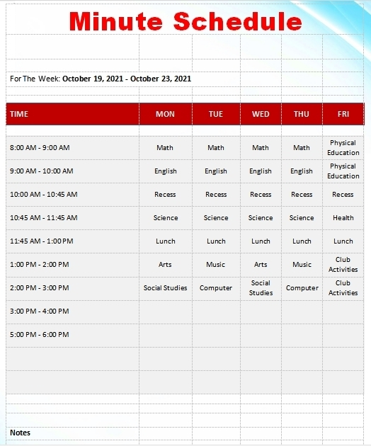 10+ 15 Minute Schedule Template | Template Business Psd, Excel, Word, Pdf