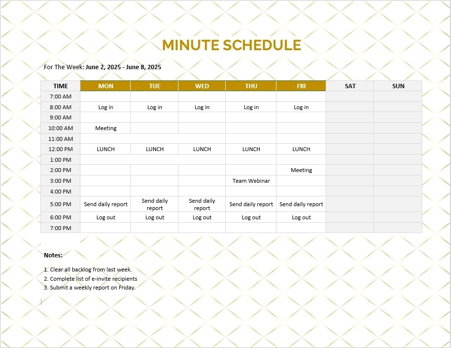 10+ Minute Schedule Template Sample | Template Business Psd, Excel, Word, Pdf