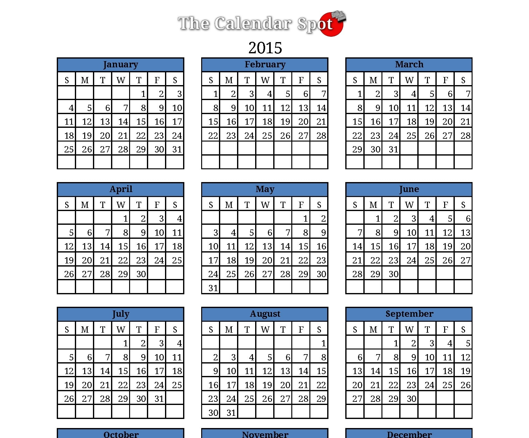 12 2015 Yearly Calendar Template Images - 2015 Calendar, 2015 Yearly Calendar Printable And 2015