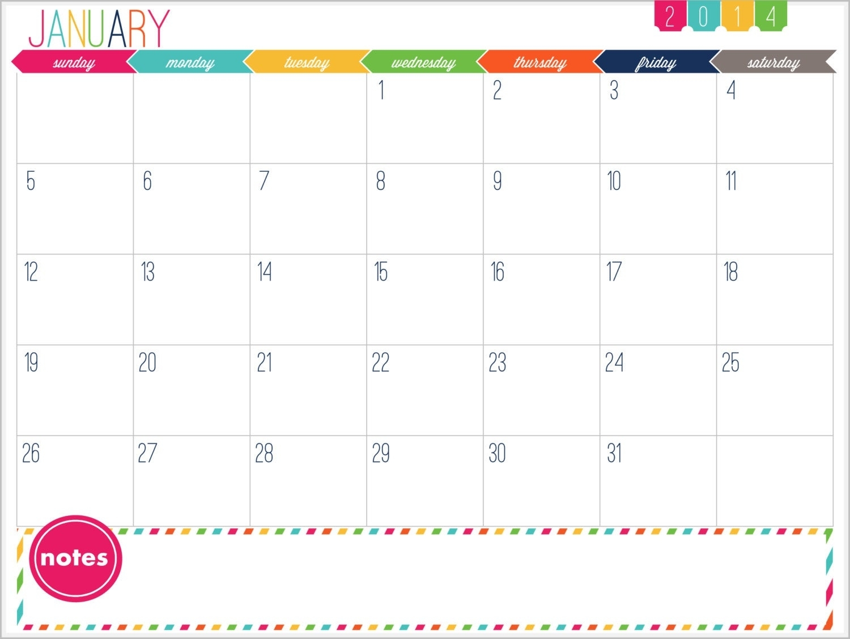 12 Month Calendar Printable Prefilled For 2014 Instant