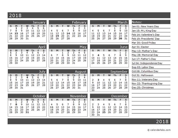 12 Month Calendar Template 2018 - Printable Year Calendar