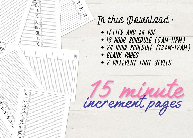 15 Minute Increment Schedule Large Size Number Sheet Instant | Etsy
