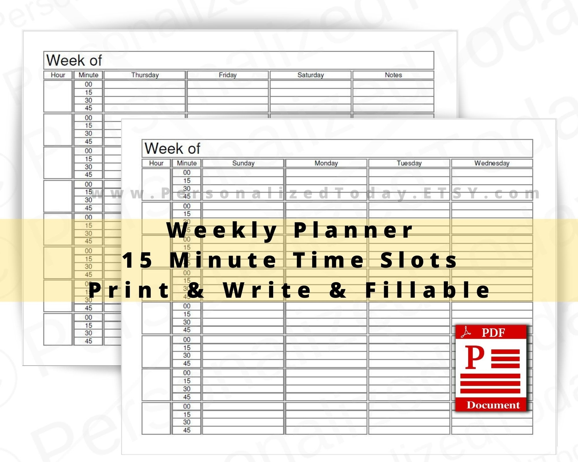 15 Minute Increment Weekly Schedule - Calendar Inspiration Design