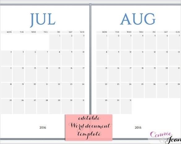 16+ Printable Microsoft Word Calendar Templates | Free & Premium Templates