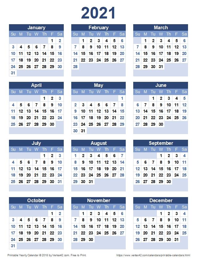 20+ Calendar 2021 To Print - Free Download Printable Calendar Templates ️