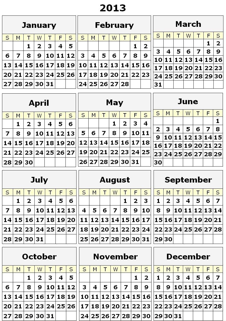 2013 Print Calendars Single Page   2013 Calendar Printable One Page   2013 Calendar Printable