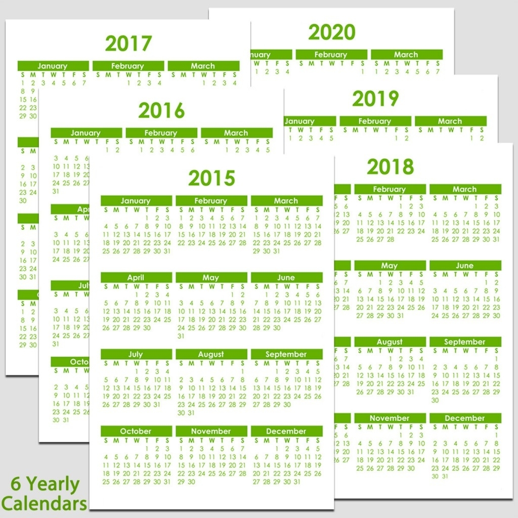 """2015 To 2020 Yearly Calendar - 8 1/2"""" X 11""""   Legacy Templates"""