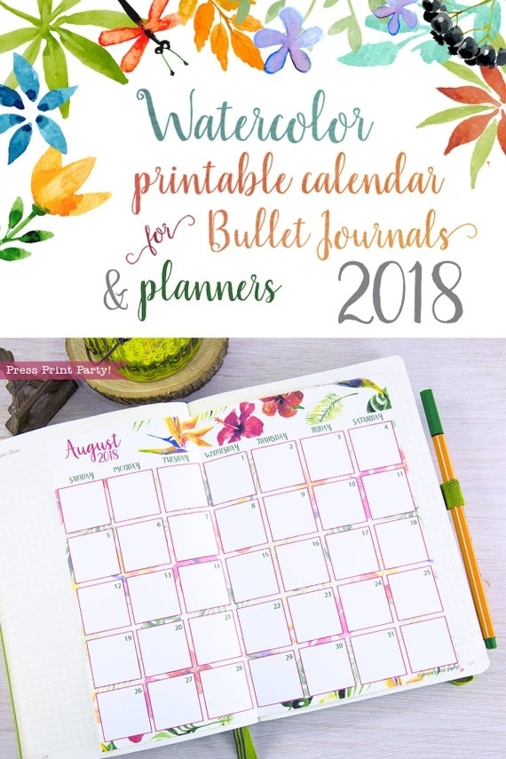 2018 Monthly Calendar For Bullet Journals And Planners
