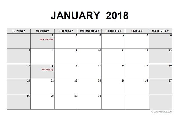2018 Monthly Calendar Pdf - Free Printable Templates
