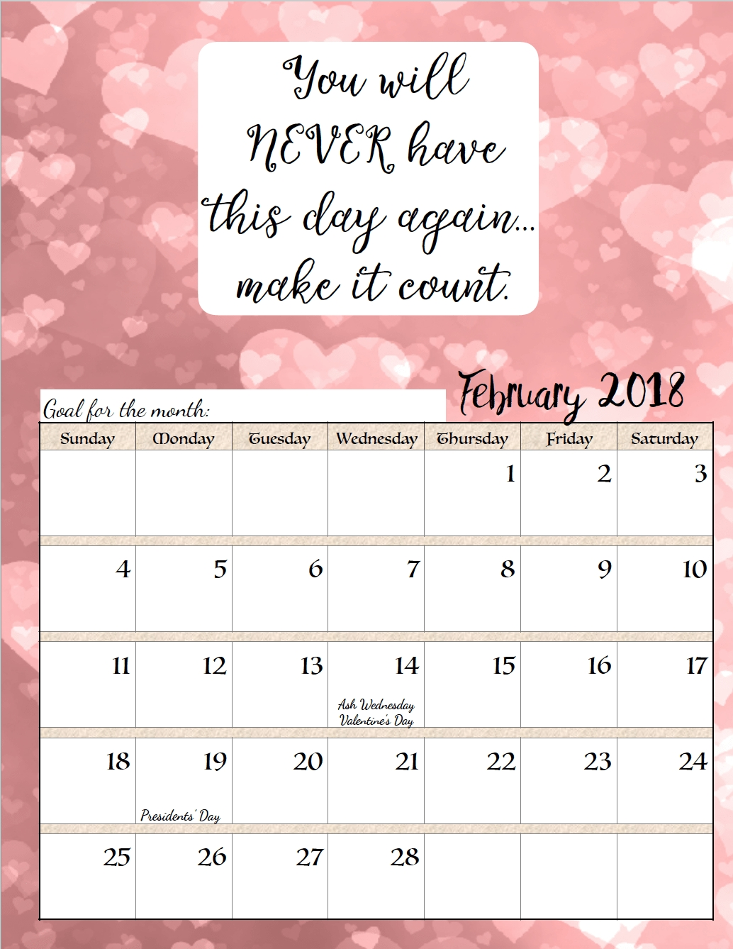 2018 Monthly Calendars With Positive Life Living Short Motivational Quotes Calendar 2018