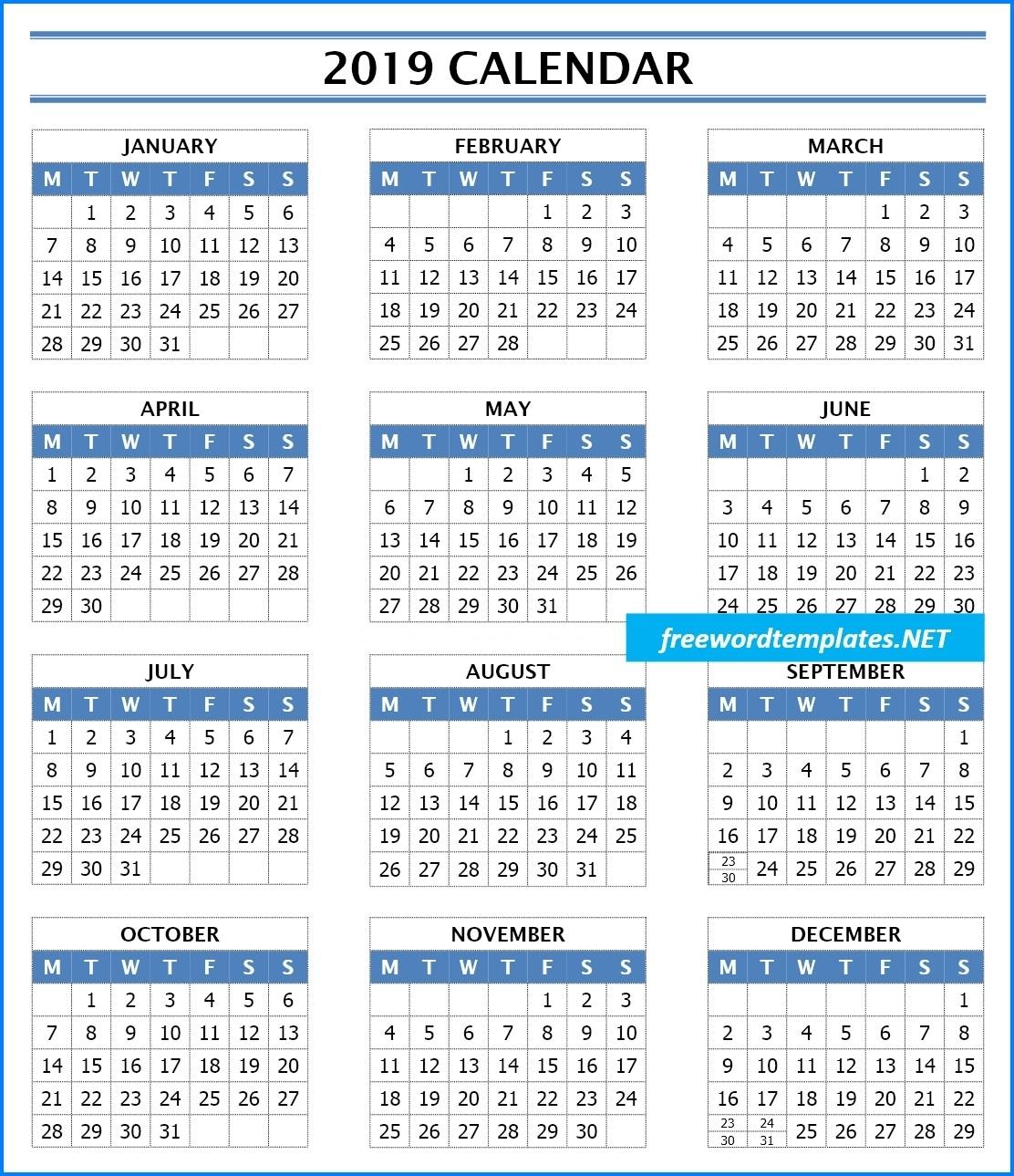 2019 Calendar Templates | Freewordtemplates