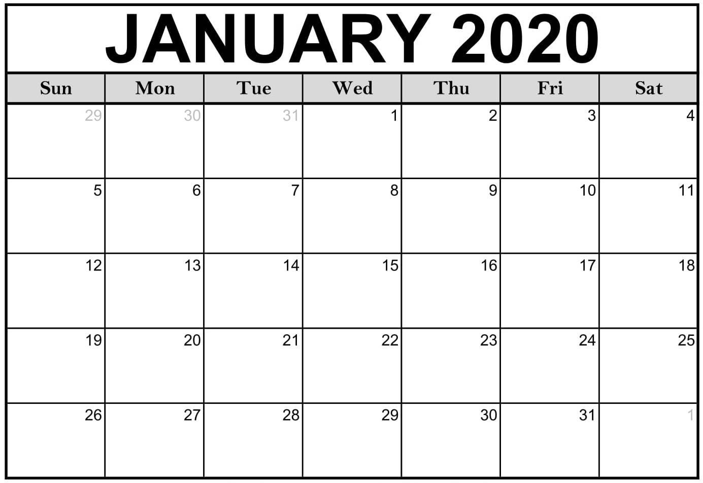 2020 Calendar Fillable | Free Printable Calendar