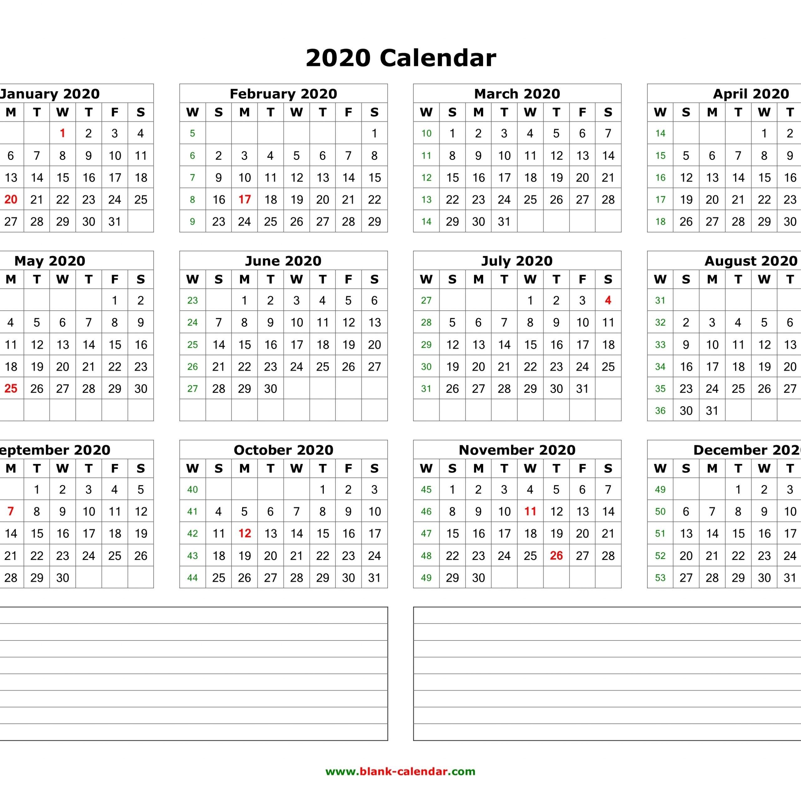 2020 Calendar Landscape Printable | Printable Calendar Free