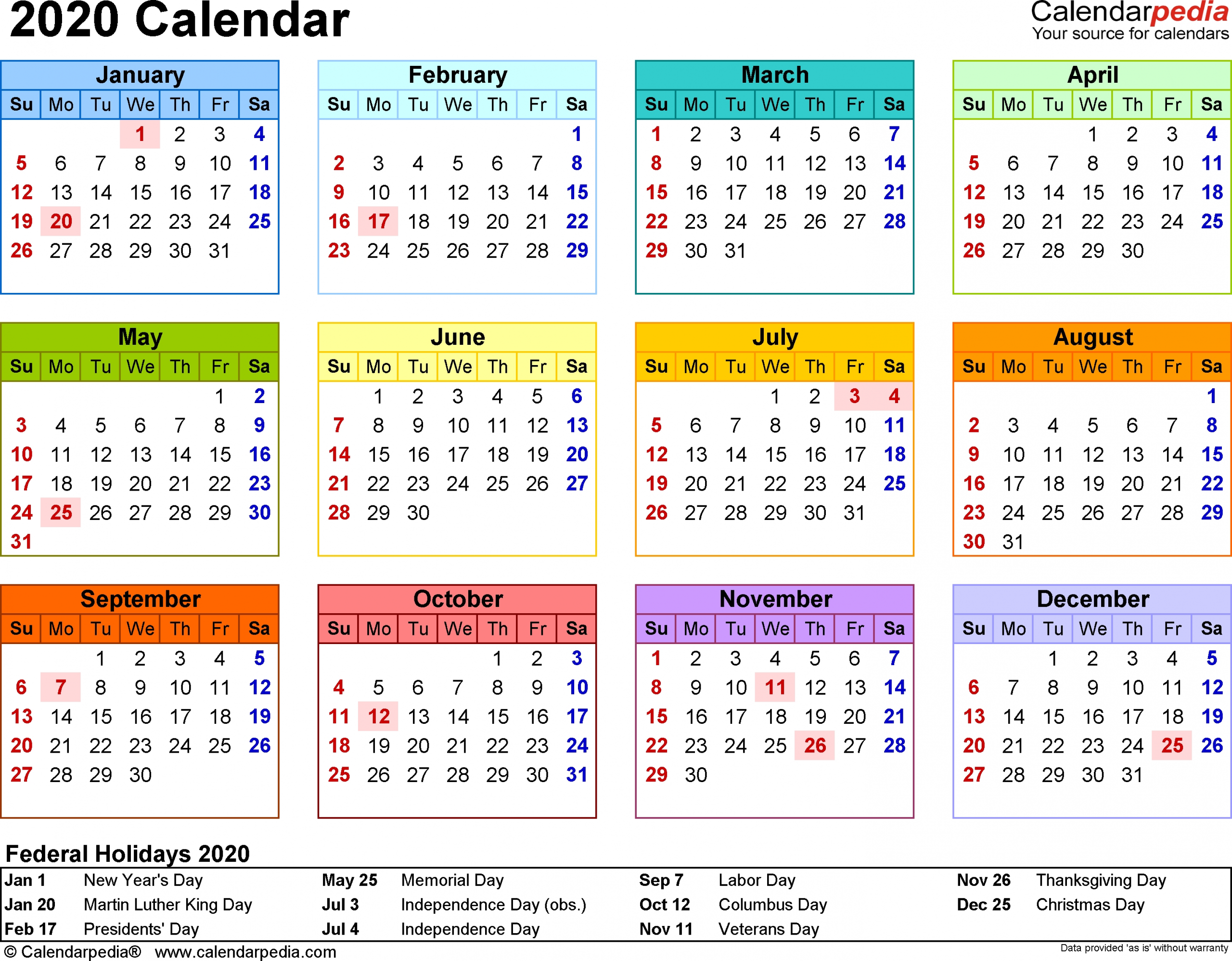 2020 Calendar Legal Holidays   Calendar Printable Free