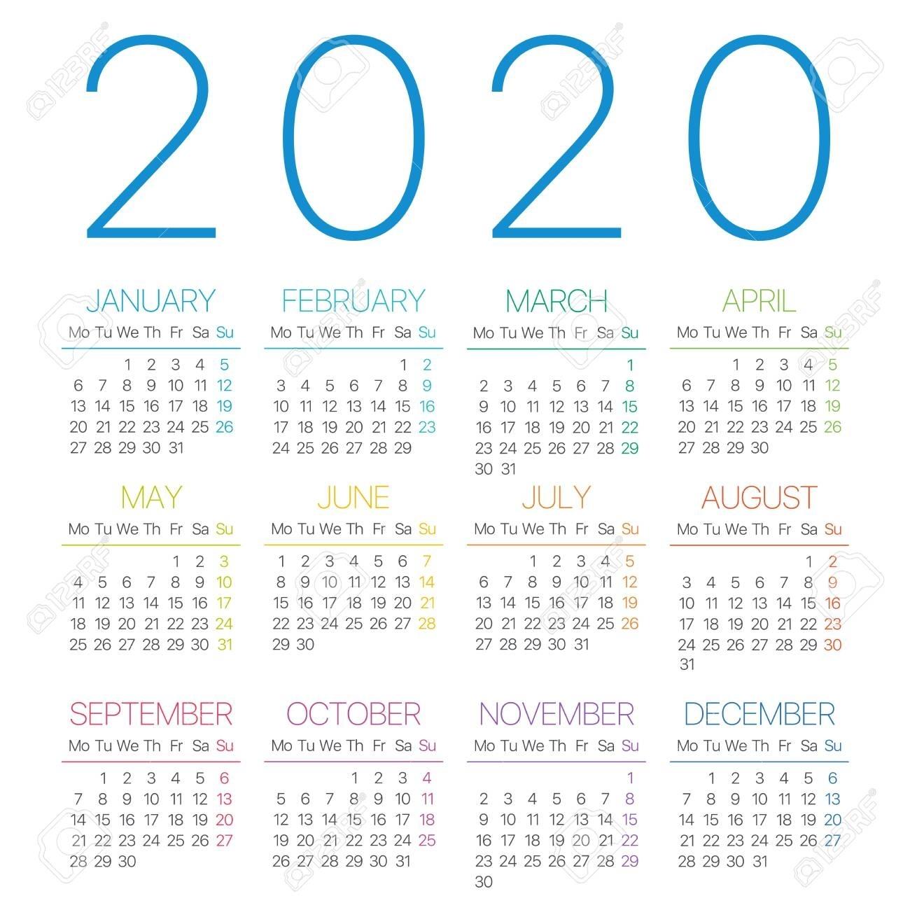 2020 Calendar Monday Through Sunday | Free Printable Calendar