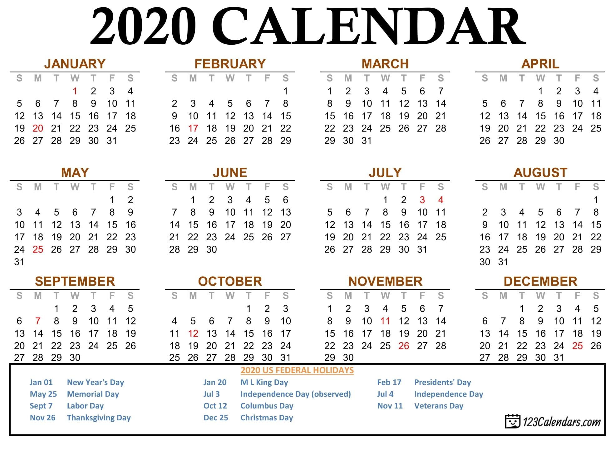 2020 Calendar Printable Legal Size | Example Calendar Printable