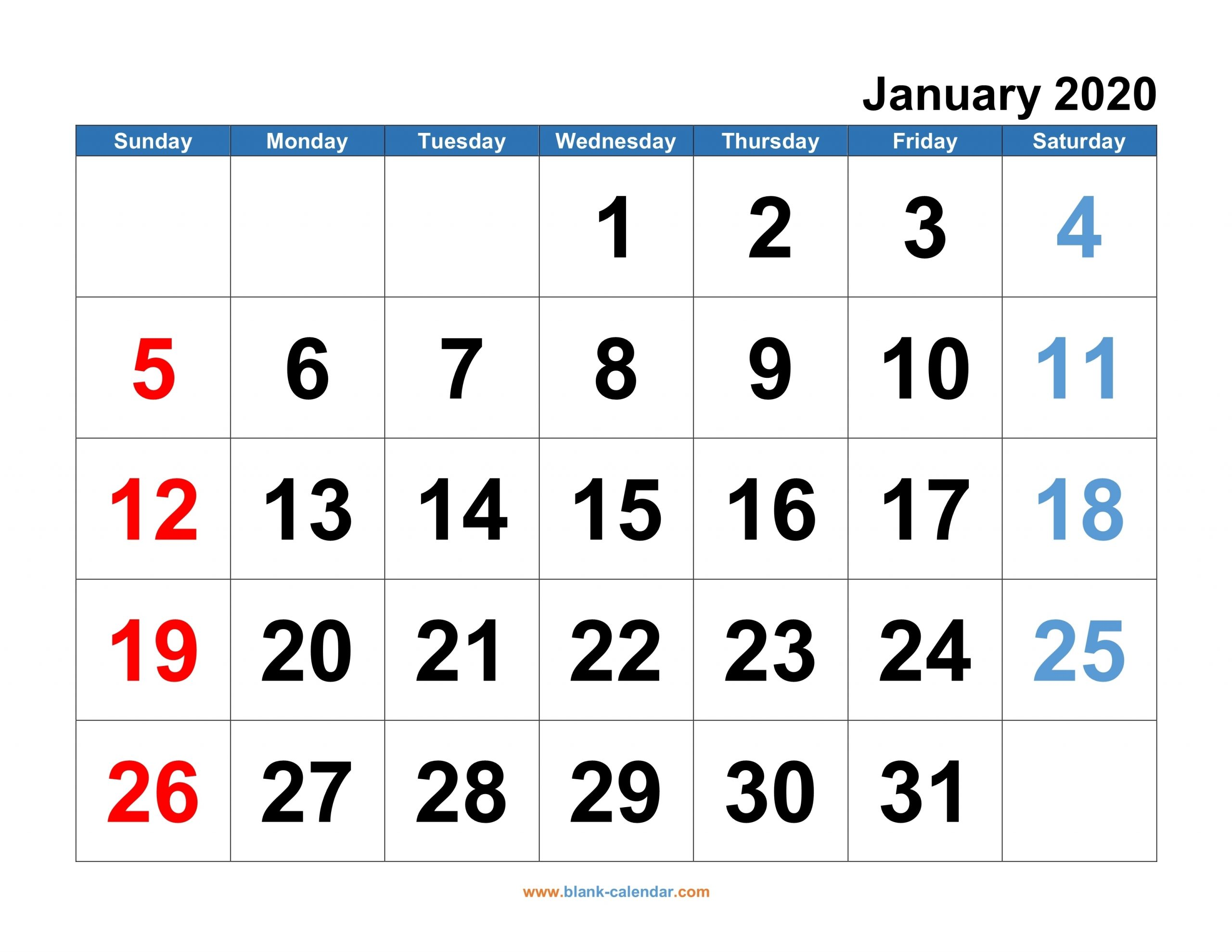 2020 Calendar Sunday To Saturday | Calendar Template Printable Monthly Yearly