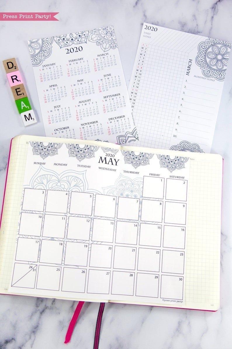 2020 Calendar Template Printable Set, Mandala, Bullet Journal Printable, Binder, Monthly Planner