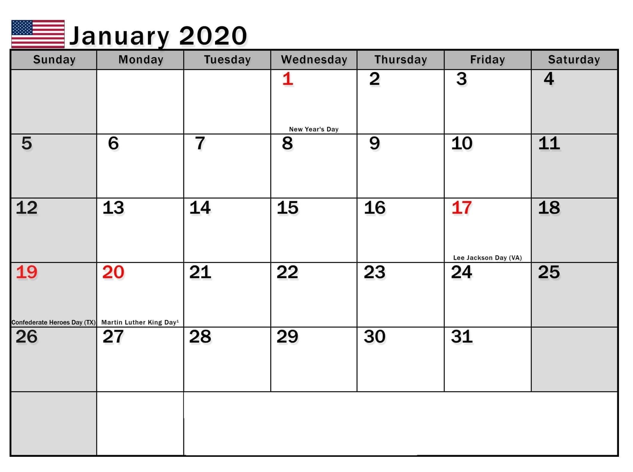 2020 Calendar With Usa Legal Holidays   Calendar Template Printable