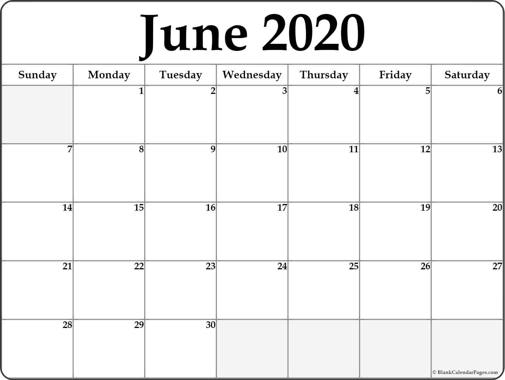2020 Calender With Space To Write - Calendar Inspiration Design