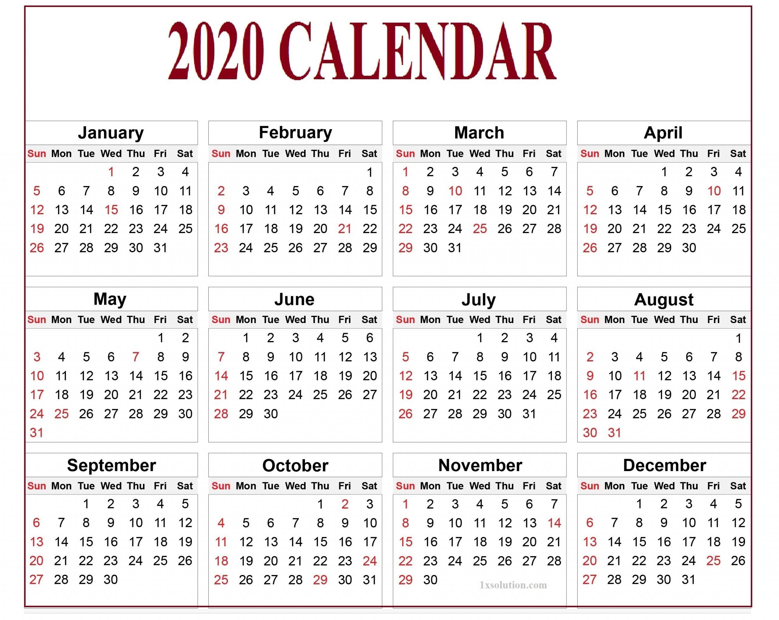 2020 Daily Calendar- To Write Your Important Notes | | Calendar