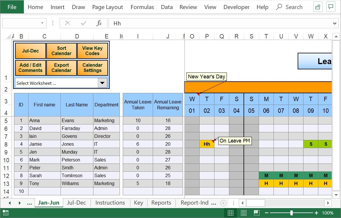 2020 Employee Vacation Planner Template   Calendar Template Printable