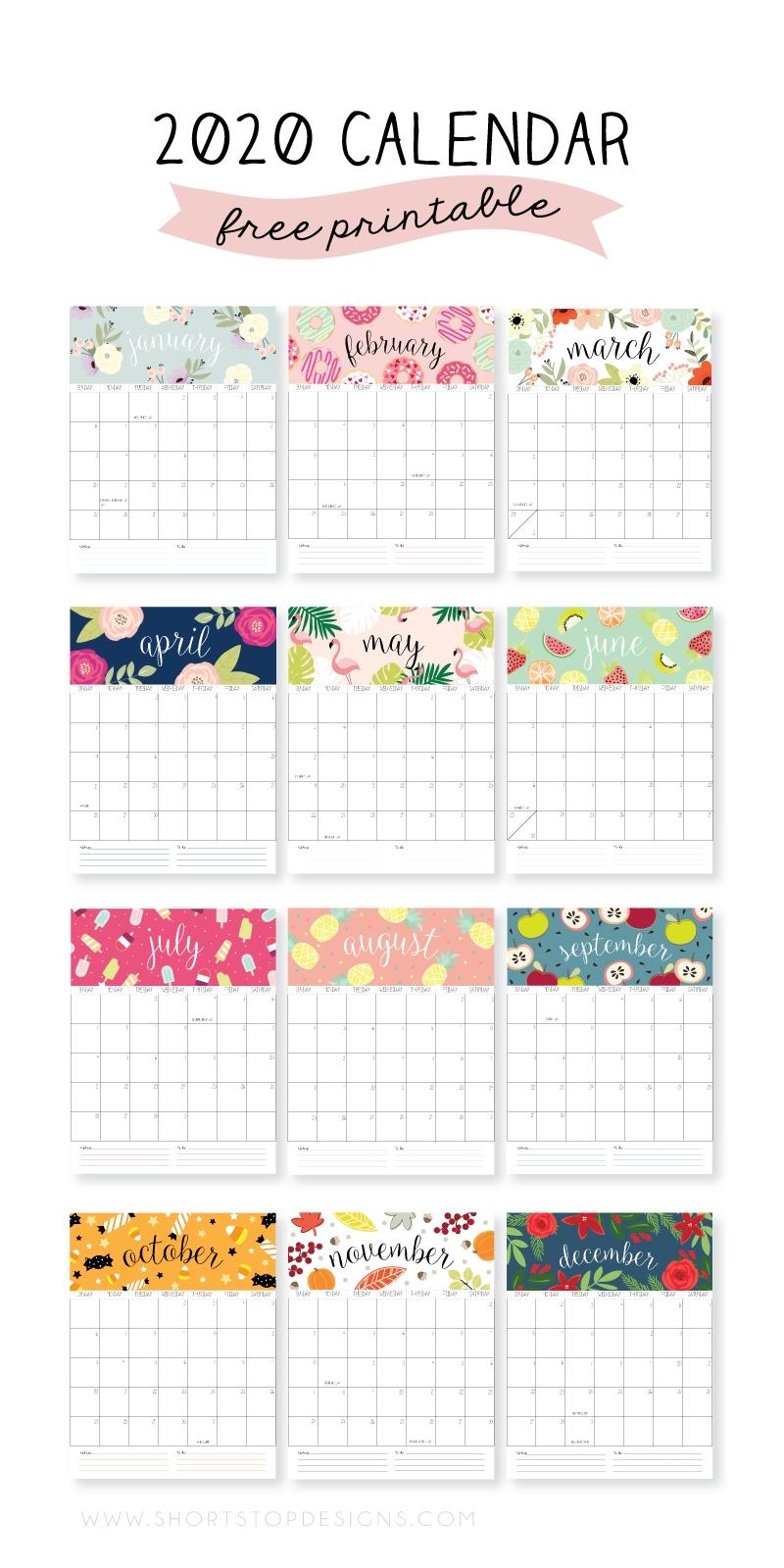 2020 Printable Calendar - Short Stop Designs