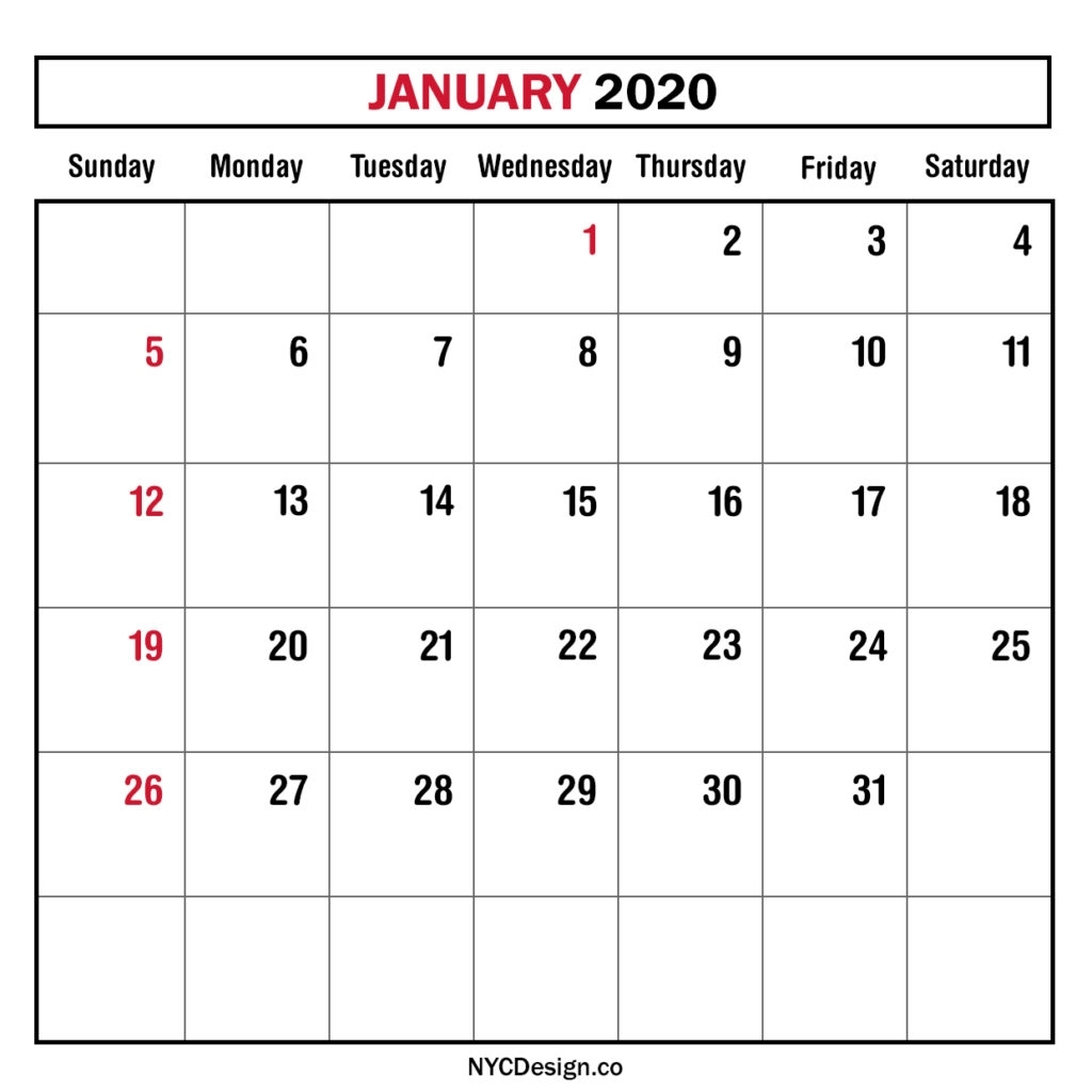 2020 Printable Calendar Sunday To Saturday | Calendar Template Printable Monthly Yearly
