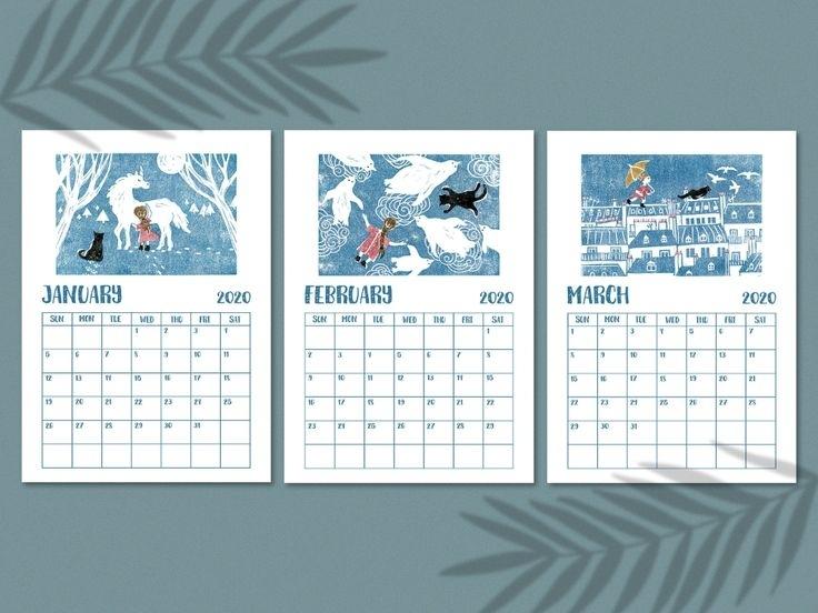 2020 Printable Grid Calendar Pdf, Digital Download, Sunday Start, Monday Start, Fairytale