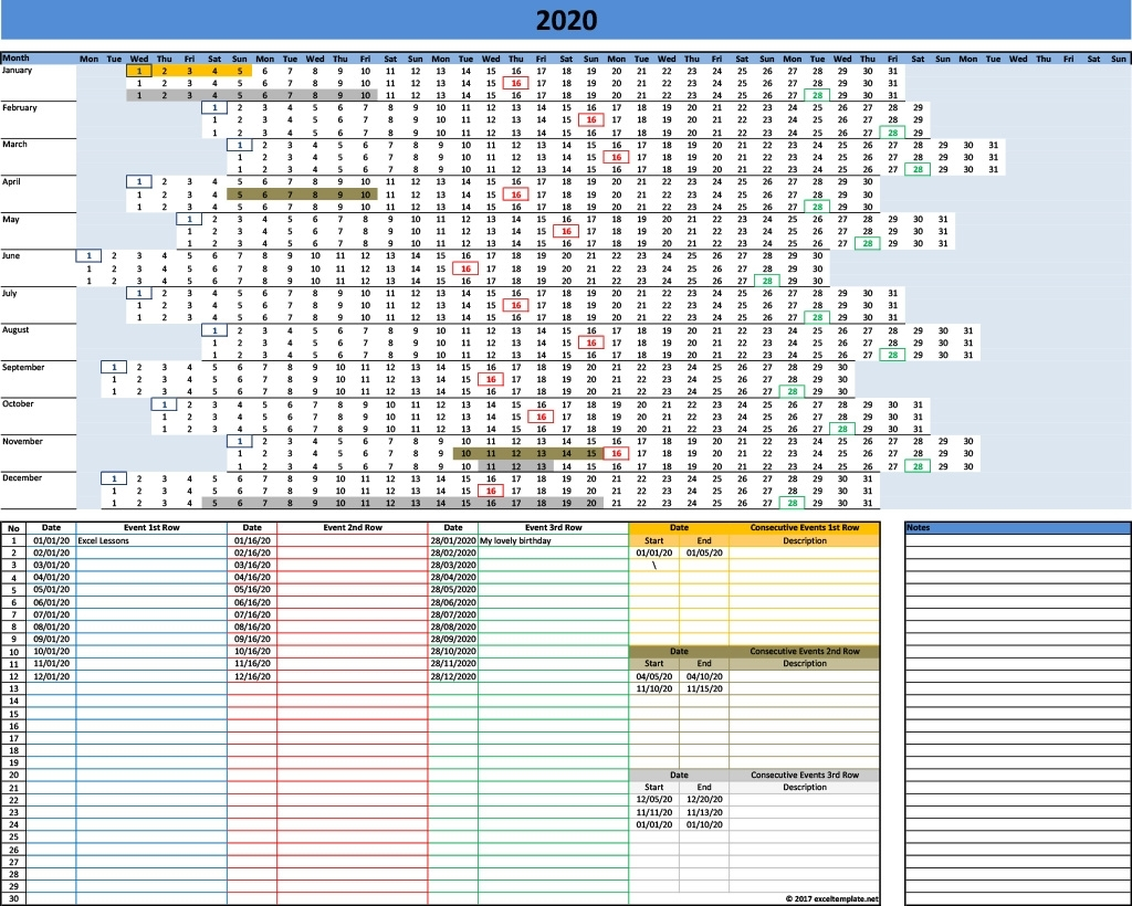 2020 Yearly Calendar Template » Exceltemplate