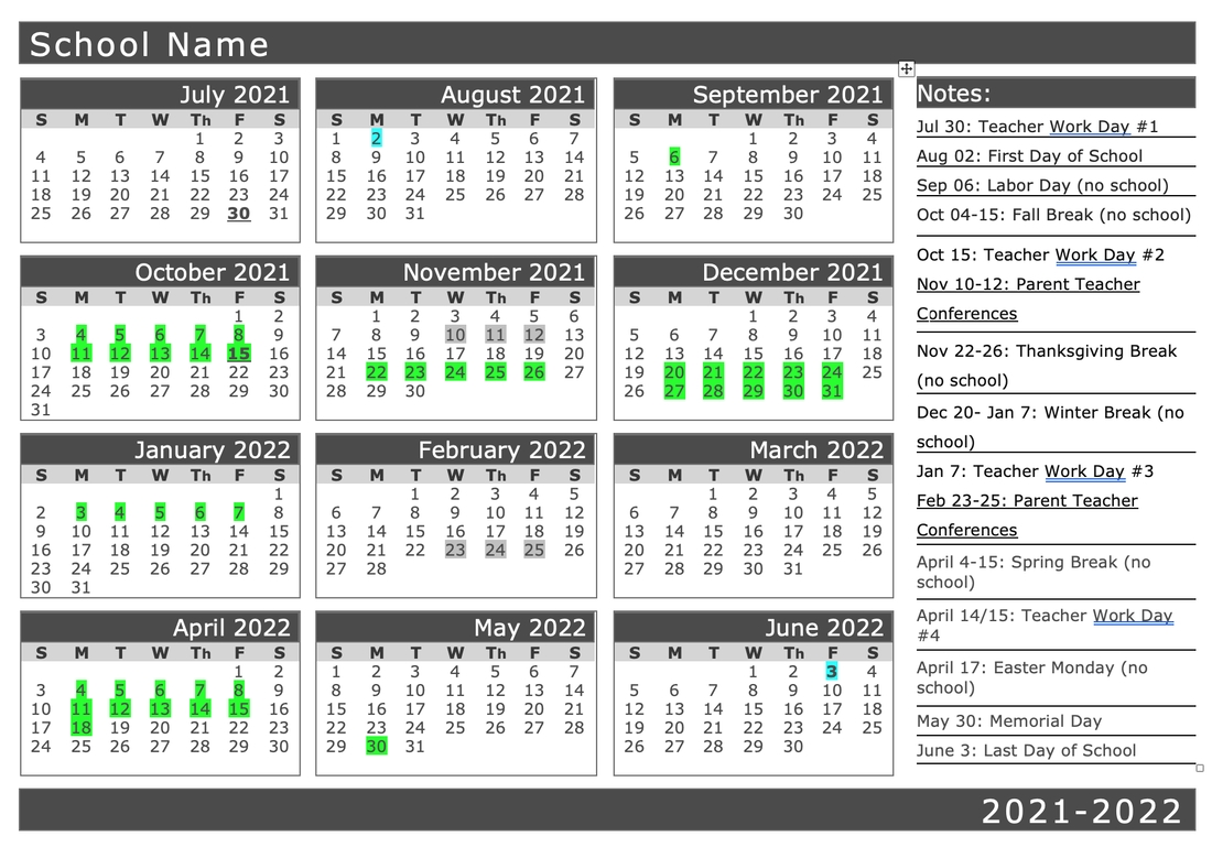 2021-2022 Calendar - Lab School Of Oklahoma