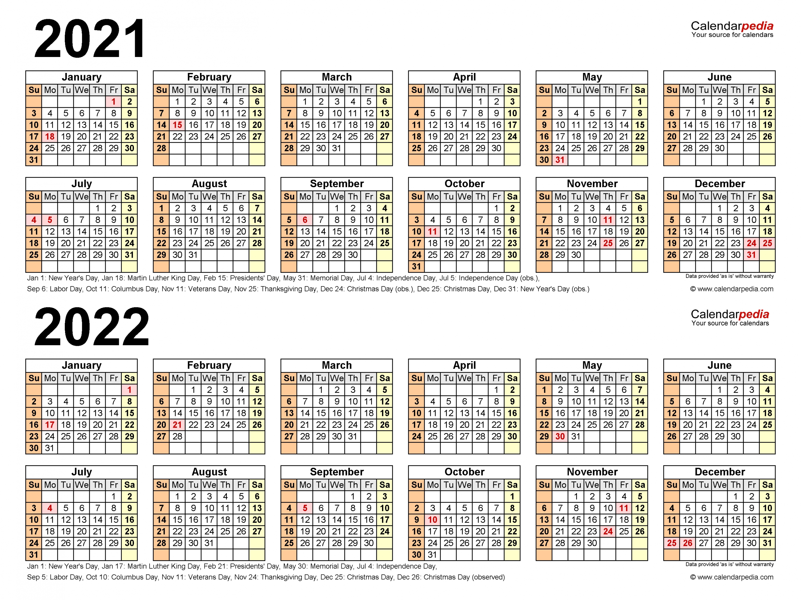 2021-2022 Two Year Calendar - Free Printable Excel Templates