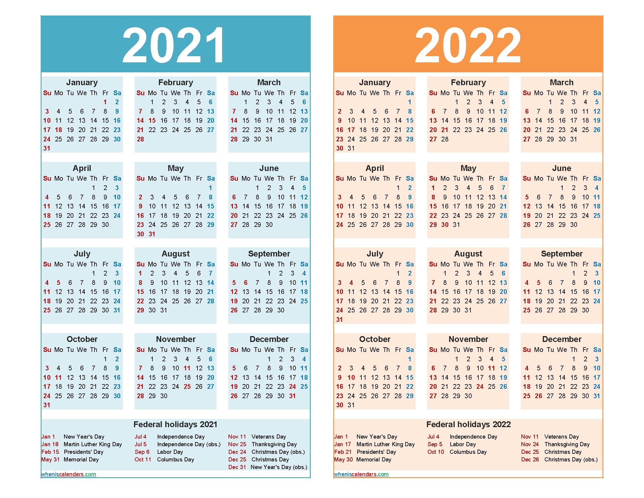 2021 And 2022 Calendar Printable Word, Pdf - Free Printable 2020 Monthly Calendar With Holidays