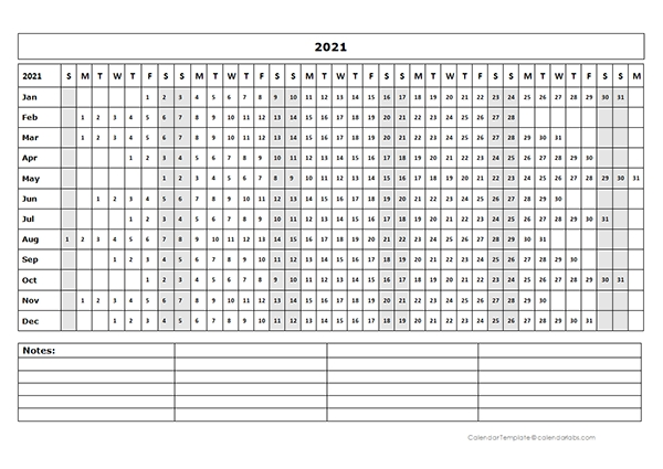 2021 Blank Landscape Yearly Calendar Template - Free Printable Templates