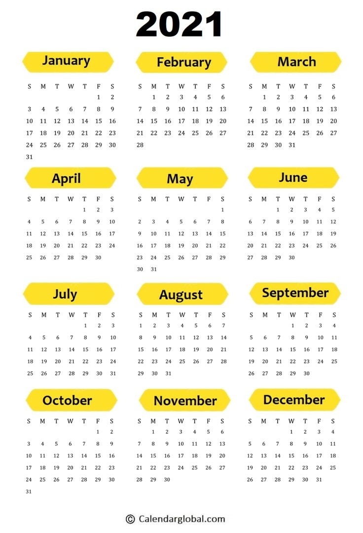 2021 Calendar: Free Printable Yearly One Page - Calendarglobal   Planner Calendar Printables