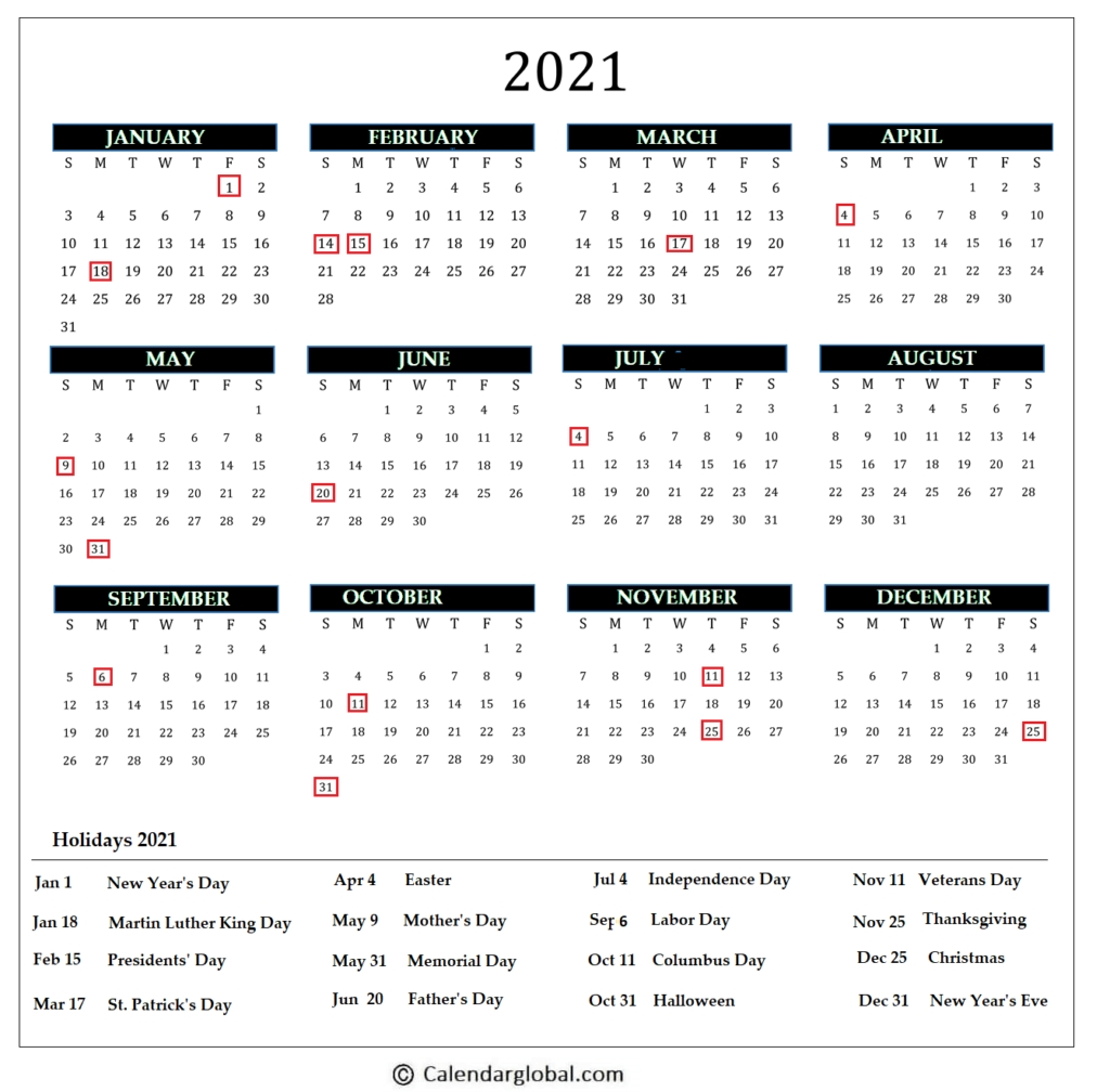 2021 Calendar: Free Printable Yearly One Page - Calendarglobal