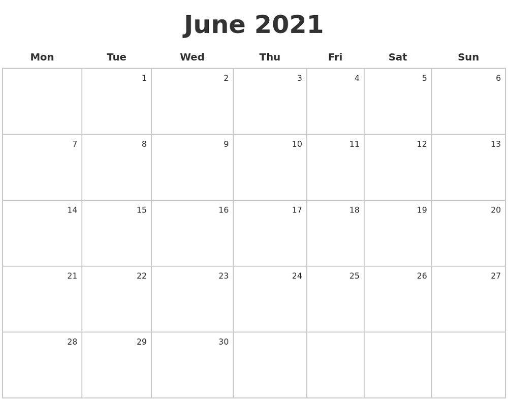 2021 Calendar Monday To Sunday
