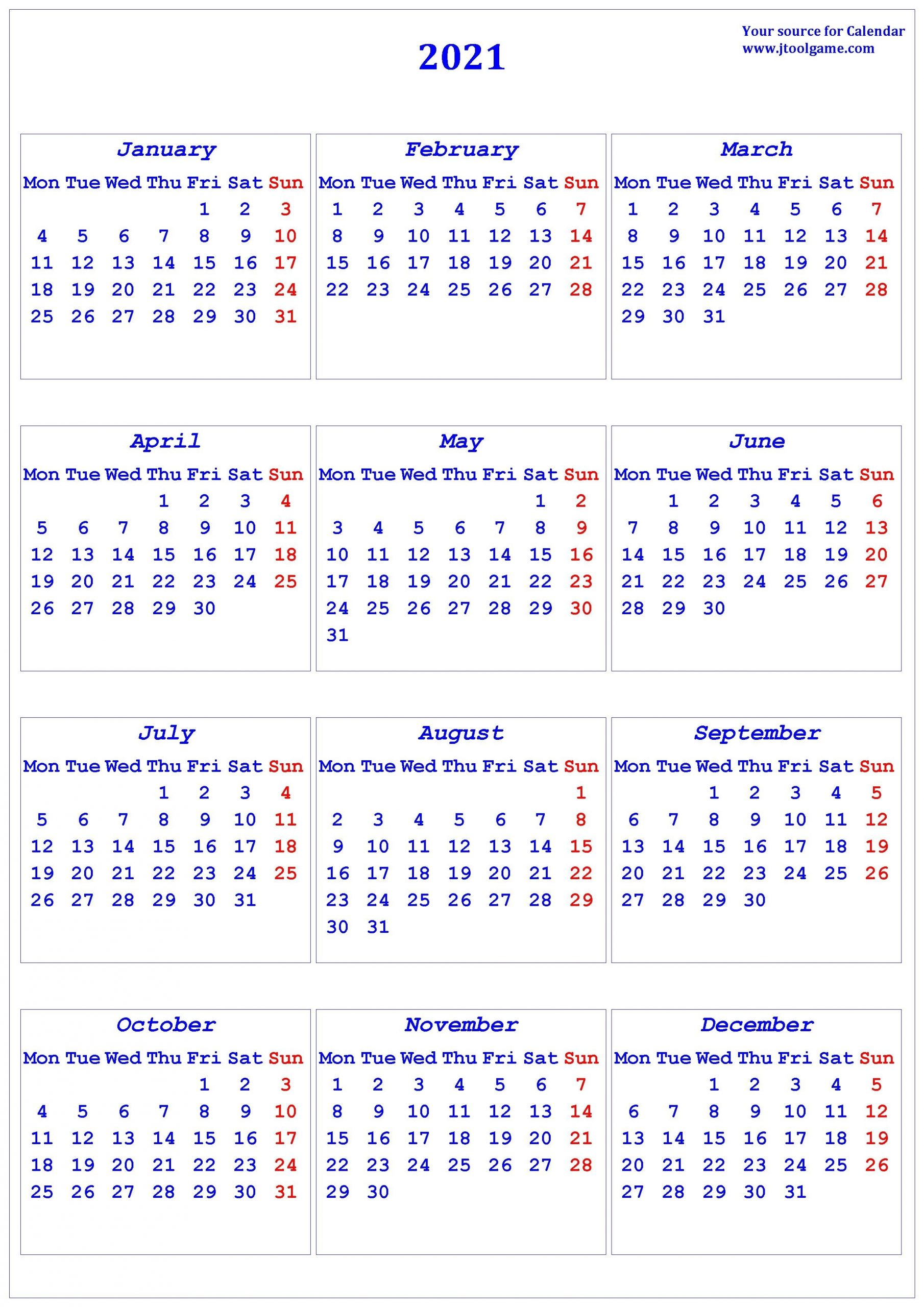 2021 Calendar - Printable Calendar With Usa Holidays