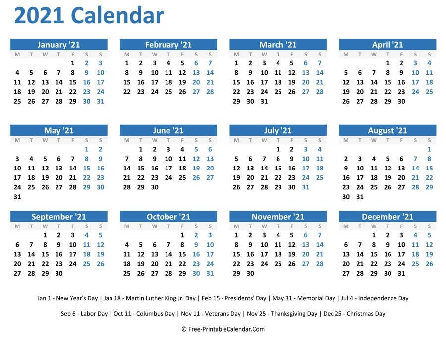 2021 Calendar Printable One Page   Free Printable Calendar Monthly