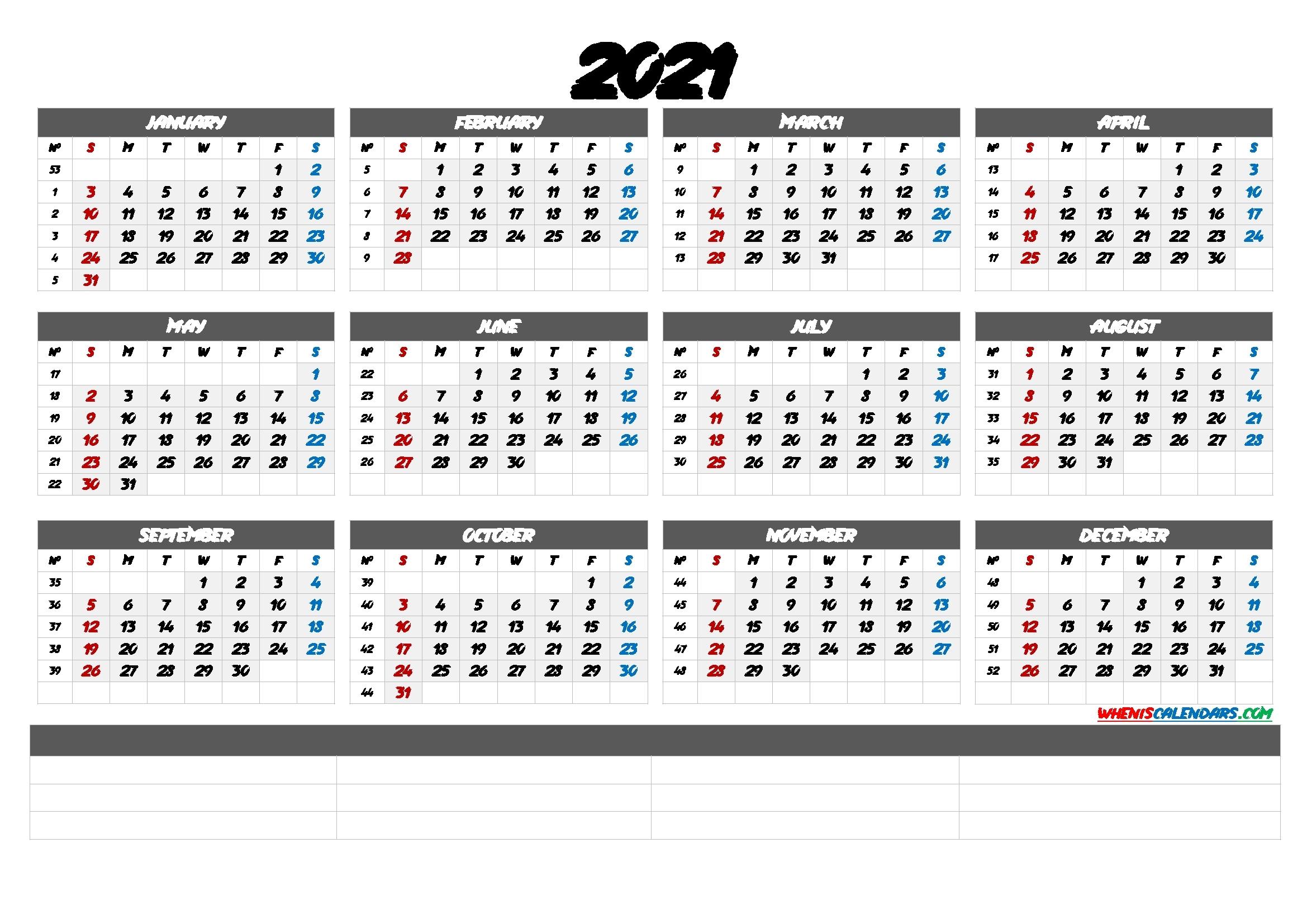 2021 Calendar With Week Number Printable Free / 2021 Free Printable Yearly Calendar With Week