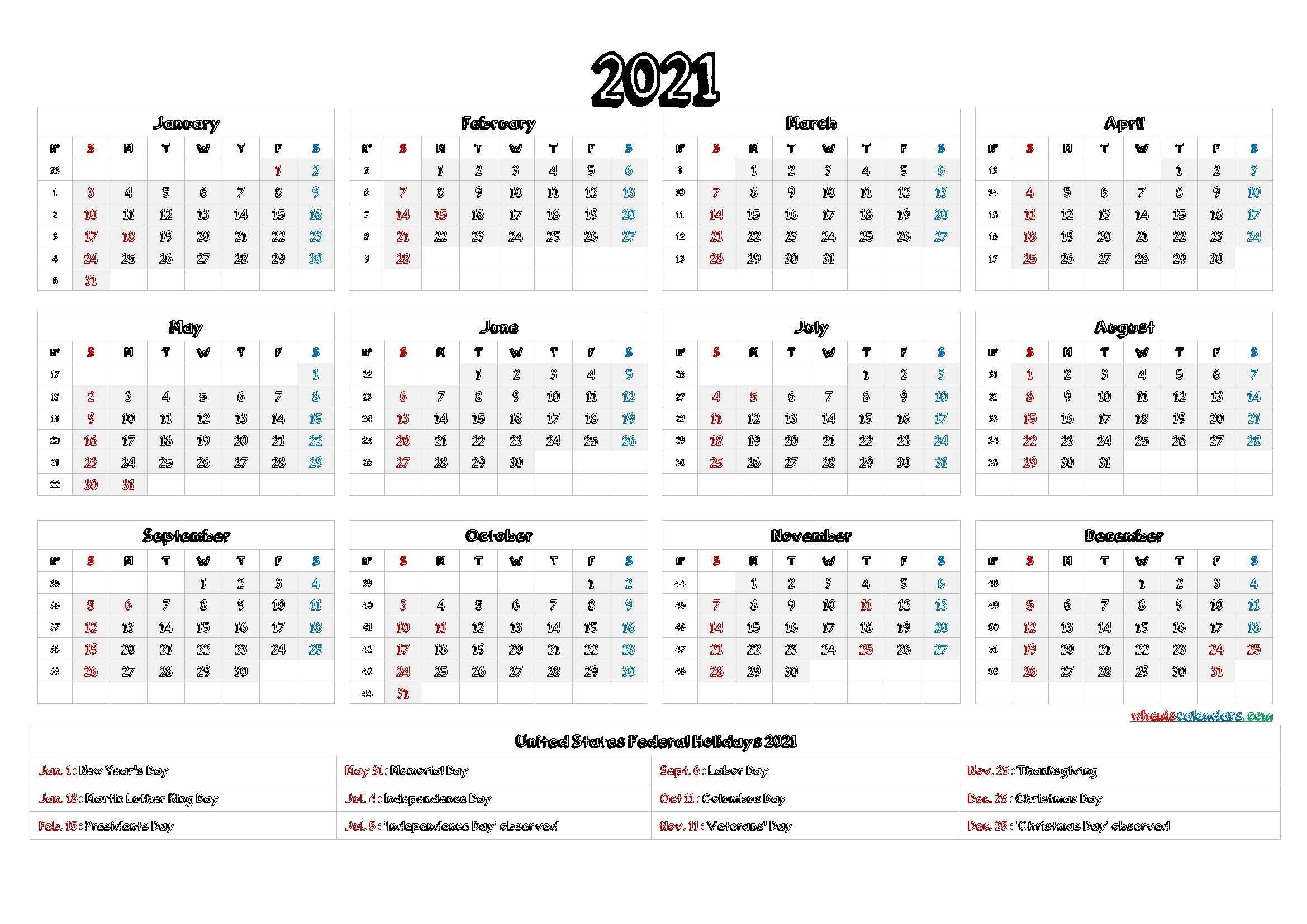 2021 Calendar With Week Number Printable Free - 2021 Year Calendar Vertical Design Calendar 2021