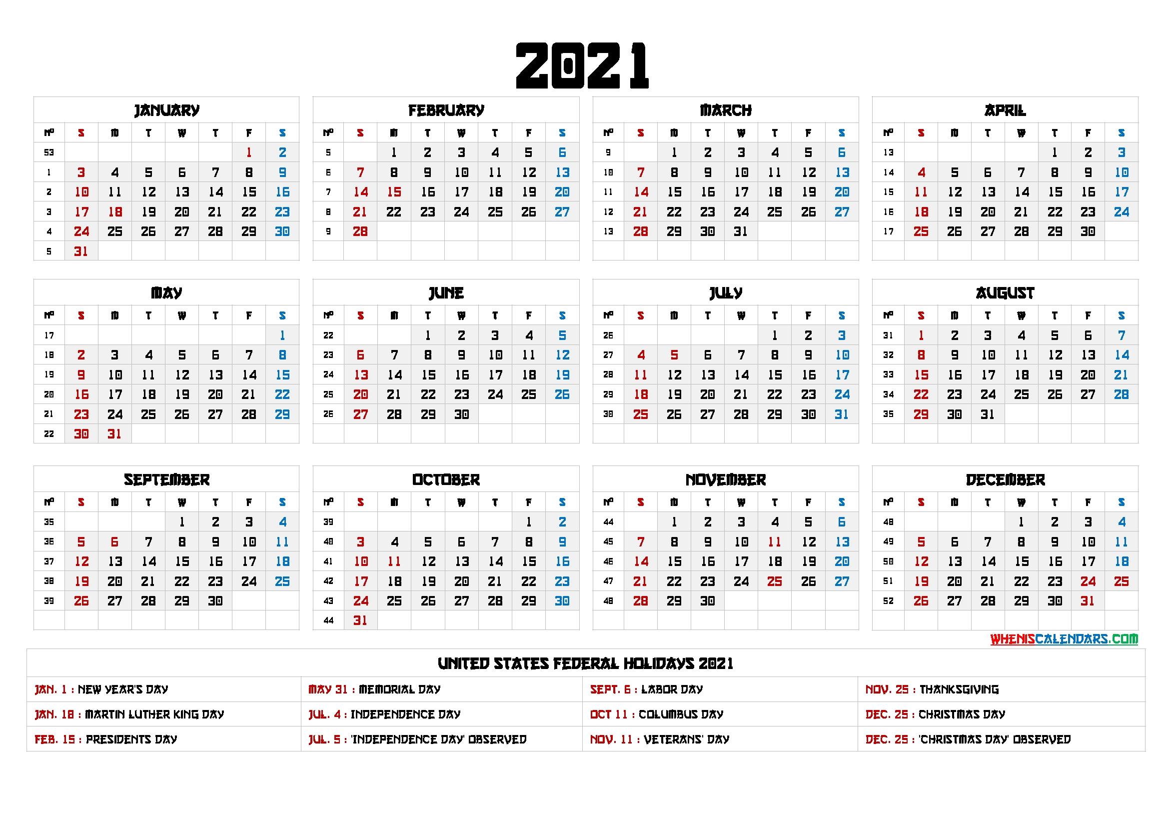 2021 Calendar With Week Numbers Printable - 6 Templates | Free Printable 2020 Calendar With Holidays