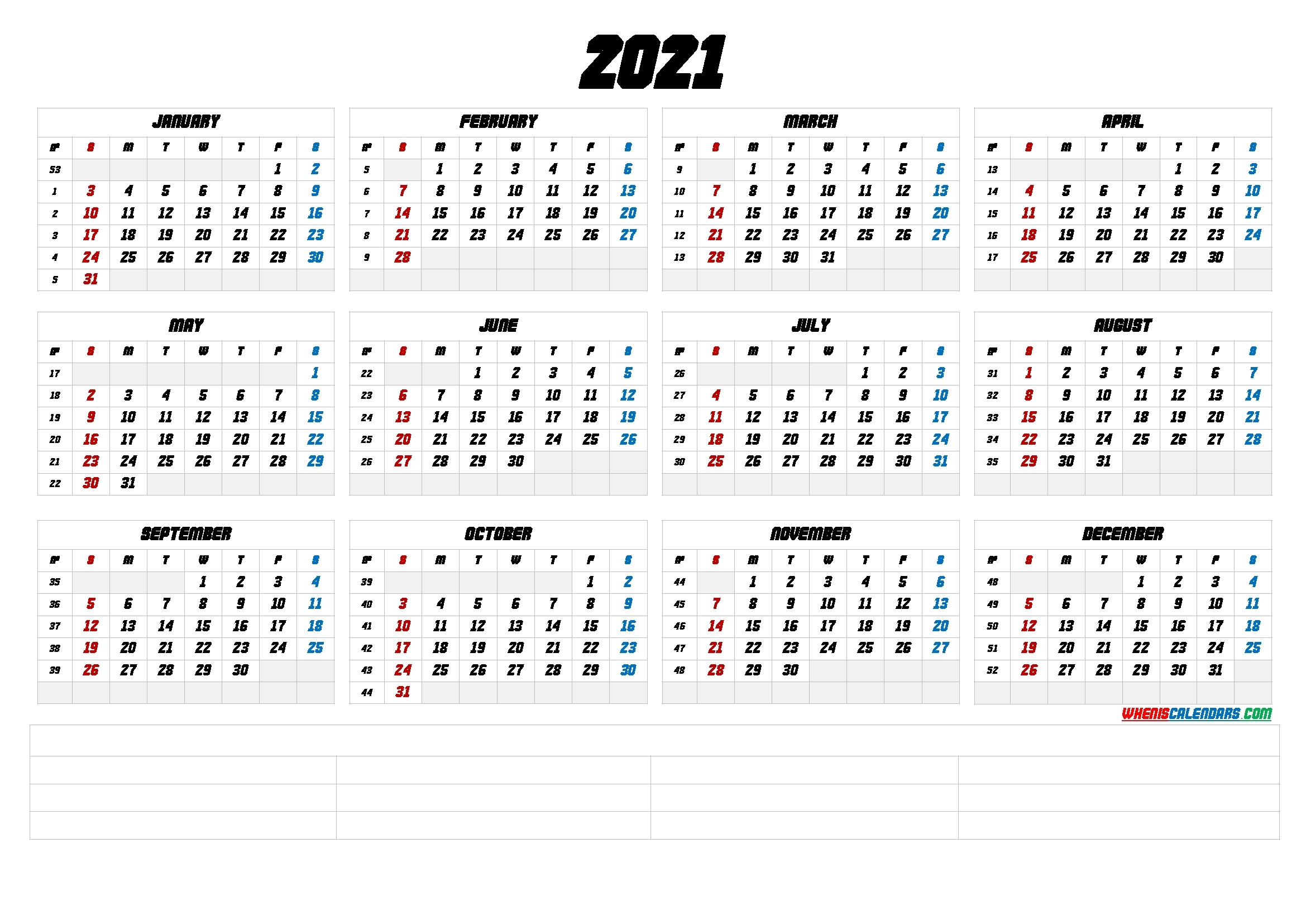 2021 Free Printable Yearly Calendar (6 Templates) | Free Printable 2020 Monthly Calendar With
