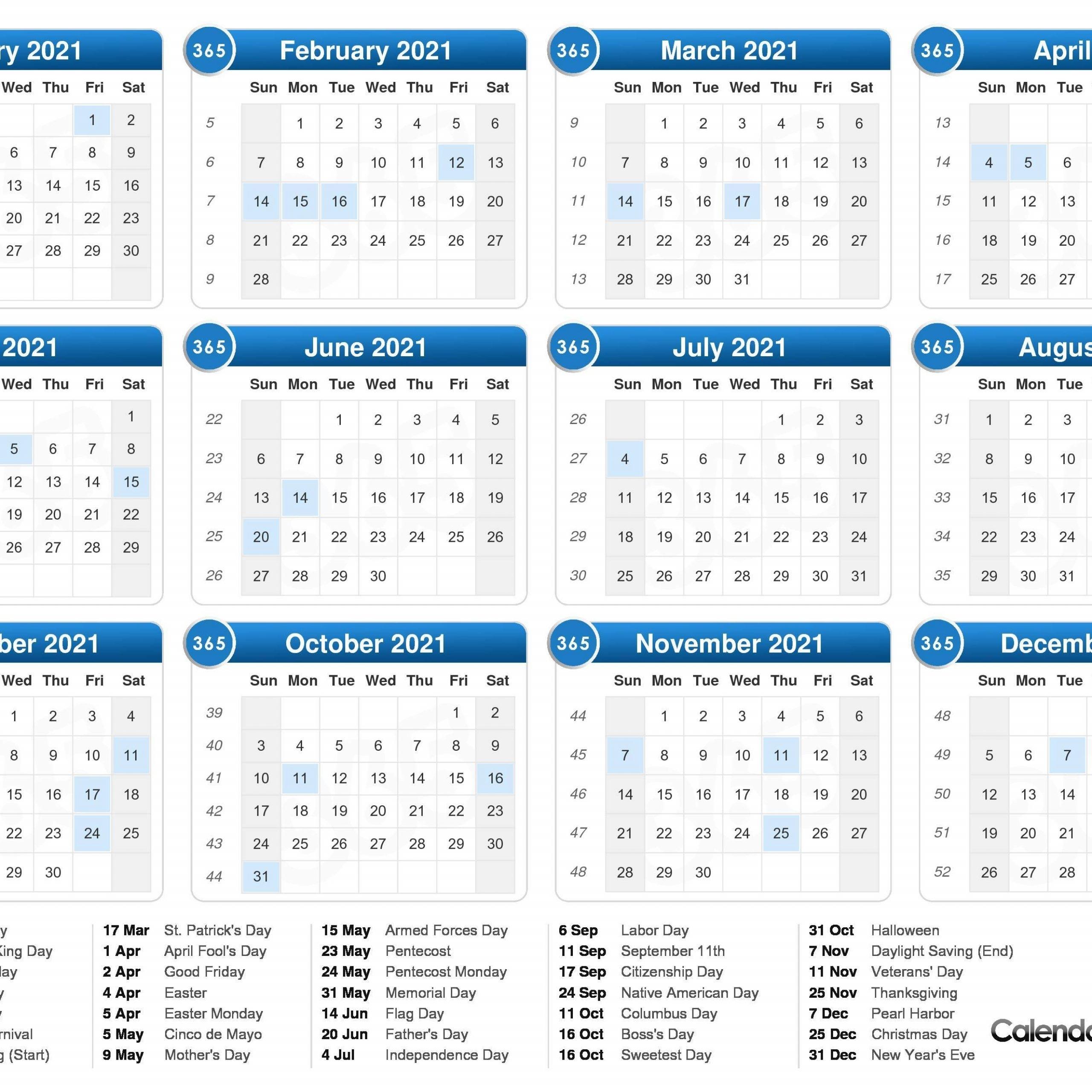 2021 One Page Calendar With Week Numbers | Free Printable Calendar