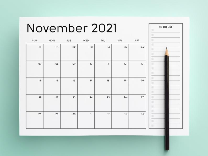 2021 Printable Calendar Sunday & Monday Start 2021 Monthly   Etsy