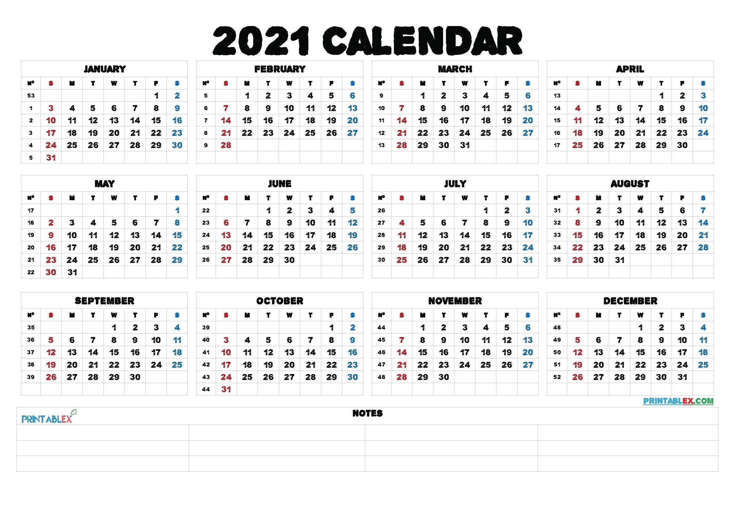 2021 Printable Yearly Calendar With Week Numbers - 21Ytw52 - Free Printable 2021 Monthly