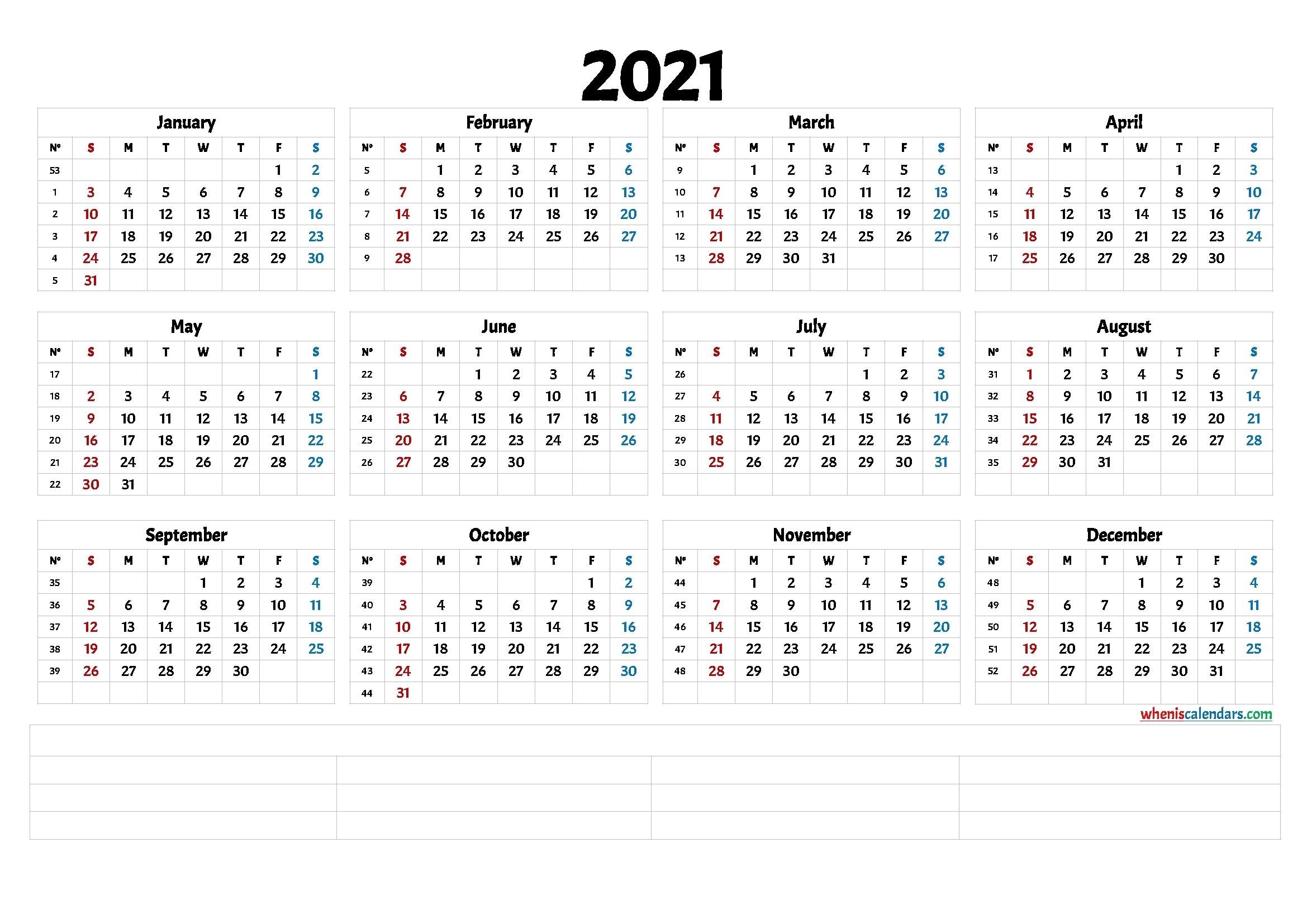 2021 Printable Yearly Calendar With Week Numbers - Calendraex